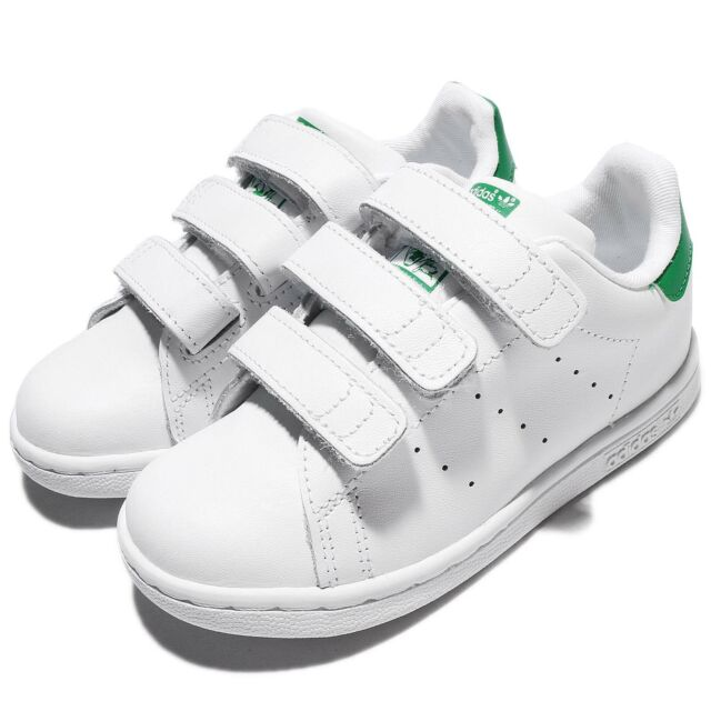 timeless design cd481 8fb5c adidas Stan Smith CF I White Green Leather Infant Toddler Baby Shoe BZ0520