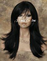 Long Human Hair Blend Wig Off Black Flip Out Straight Heat Safe Wbmis 1b