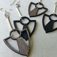 Art Deco Anchor Fan Green Tree Jewelry Laser-cut Wood Earrings Choose Color 1076