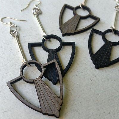 Green Tree Jewelry earrings ART DECO ANCHOR FAN laser-cut wood CHOOSE COLOR 1482