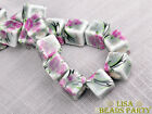 20pcs 10mm Porcelain Gray Flower Cube Square Ceramic Porcelain Big Loose Beads