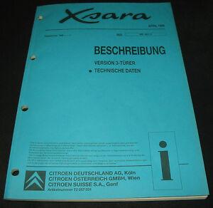 Werkstatthandbuch-Citroen-Xsara-Beschreibung-3-tuerer-technische-Daten-April-1998
