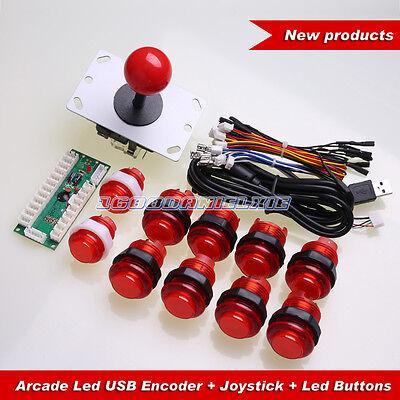 Arcade USB Control Panel DIY Bundle Kit PC Joystick + 10 Illuminated Push Button
