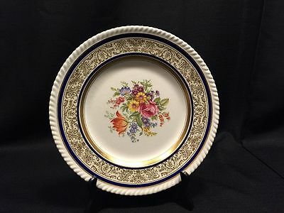 Set of 8 Johnson Brothers Chadwell Dinner Plates Cobalt Gold Floral 10.7 Inch