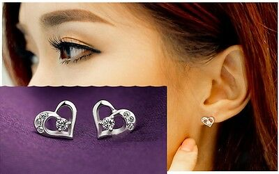 925Sterling Silver women's lovely crystal heart anti-allergy earrings studs h