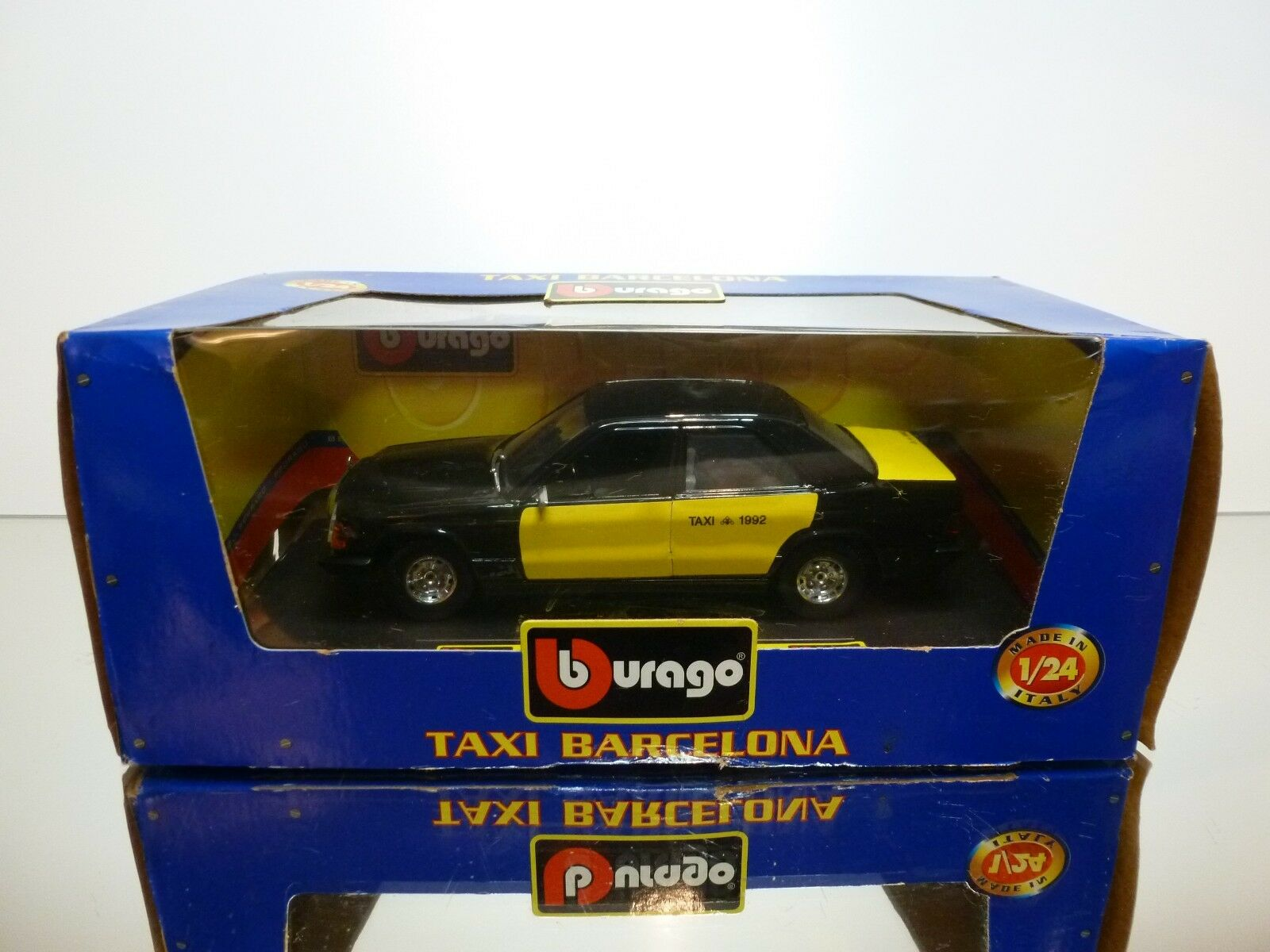 BBURAGO 0100T MERCEDES BENZ 190E TAXI BARCELONA - nero 1 24 RARE - GOOD IN BOX