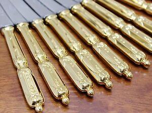 12-SFAM-Chambly-VOLGA-RUSSE-Gold-plate-Dessert-Knives-17-cm-messer-vergoldet-TX