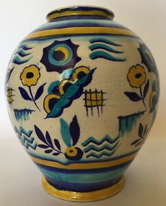 Extremely-rare-Charles-Catteau-Boch-Freres-Keramis-Vase-1346-stylistic-decor