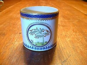 Antique 18ThC Chinese Export Blue & White Porcelain Handled Cup W/Bird Motif