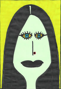 Original-Drawing-by-Jay-Snelling-Outsider-Art-Brut-Gothic-Woman-Colourful