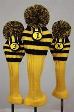 Golf pom pom 1 3 X headcover Set Black Yellow wasp Sock headcovers head cover nr