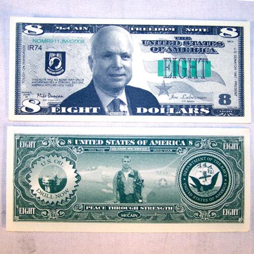 100 McCAIN FAKE DOLLAR BILLS junny joke money president fake novelty bill new
