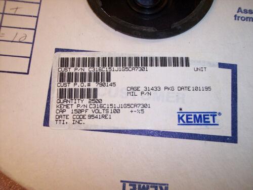 150pf 100V 5/%  RADIAL CERAMIC MLCC CAPACITORS C316C151J1G5CA KEMET QTY 100