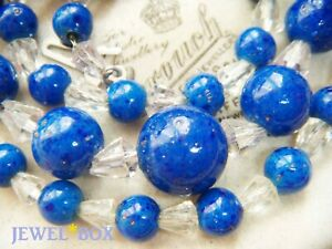 SIGNED-EARLIER-VINTAGE-BEAUTIFUL-LAPIS-GLASS-CRYSTAL-BEADS-On-Chain-NECKLACE