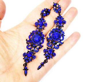 Rhinestone-Chandelier-Drop-Earrings-Steampunk-Gothic-Jewelry-4-2-inch-Blue