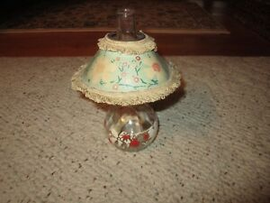 Vintage-Clear-Glass-Mini-Painted-Flowers-Oil-Lamp-W-Paper-Shade