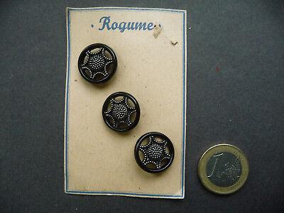 24 Stück Alte Glasknöpfe auf Musterkarte Knopfkarte Antik 18mm schwarz//silber