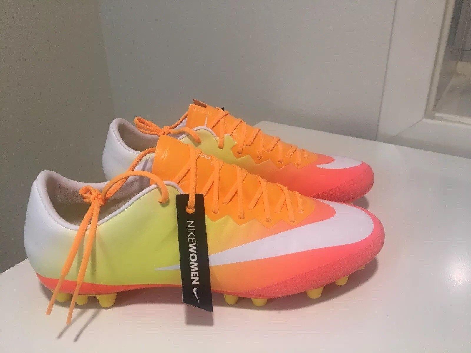 New womens 7.5 Nike Mercurial Vapor X AG Soccer Cleats Sunset orange 749699-800