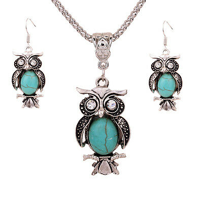 Tibetan Silver Crystal Turquoise Rhinestone Owl Pendant Chain Necklace Earrings