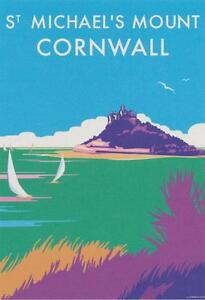 Details about St Michael's Mount Cornwall Art Deco Railway Poster Blank  Birthday Greeting Card