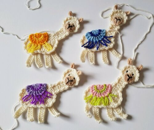 colour choices 1 Large handmade crochet llama applique//embellishment