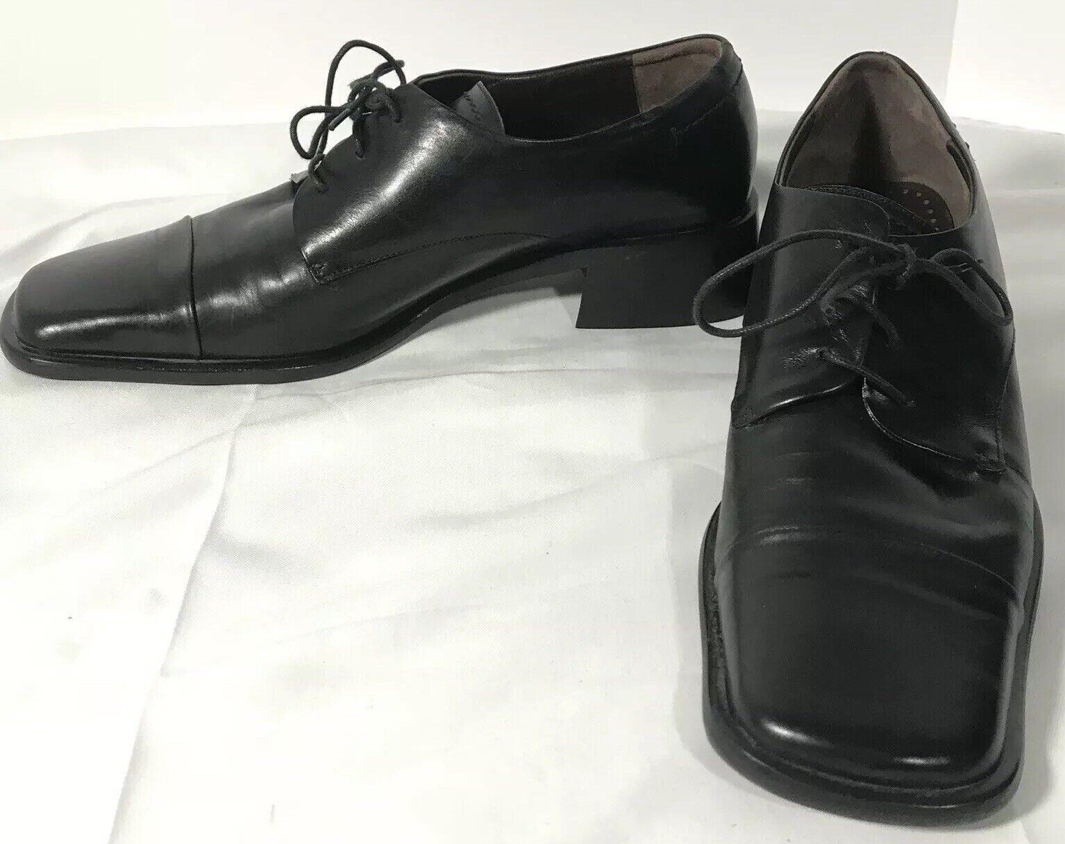 Kenneth Cole Square Cap Toe Leather Oxford Men's Size 7.5M Black Slim