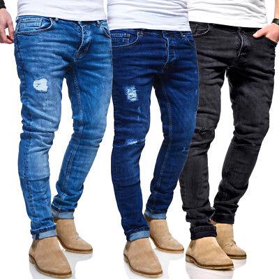 BEHYPE Jeans Destroyed Röhrenjeans Slim Fit Herren Chino Hose BlauSchwarz NEU | eBay