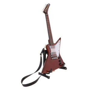 1//6 Miniature Bass Guitar Rock Wooden Musical Instruments Model With Stand