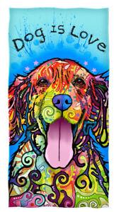 Dean Russo Dog is Love Cotton Beach Towel