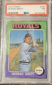 1975-Topps-Card-228-George-Brett-RC-HOF-Kansas-City-Royals-NM-Graded-PSA-7