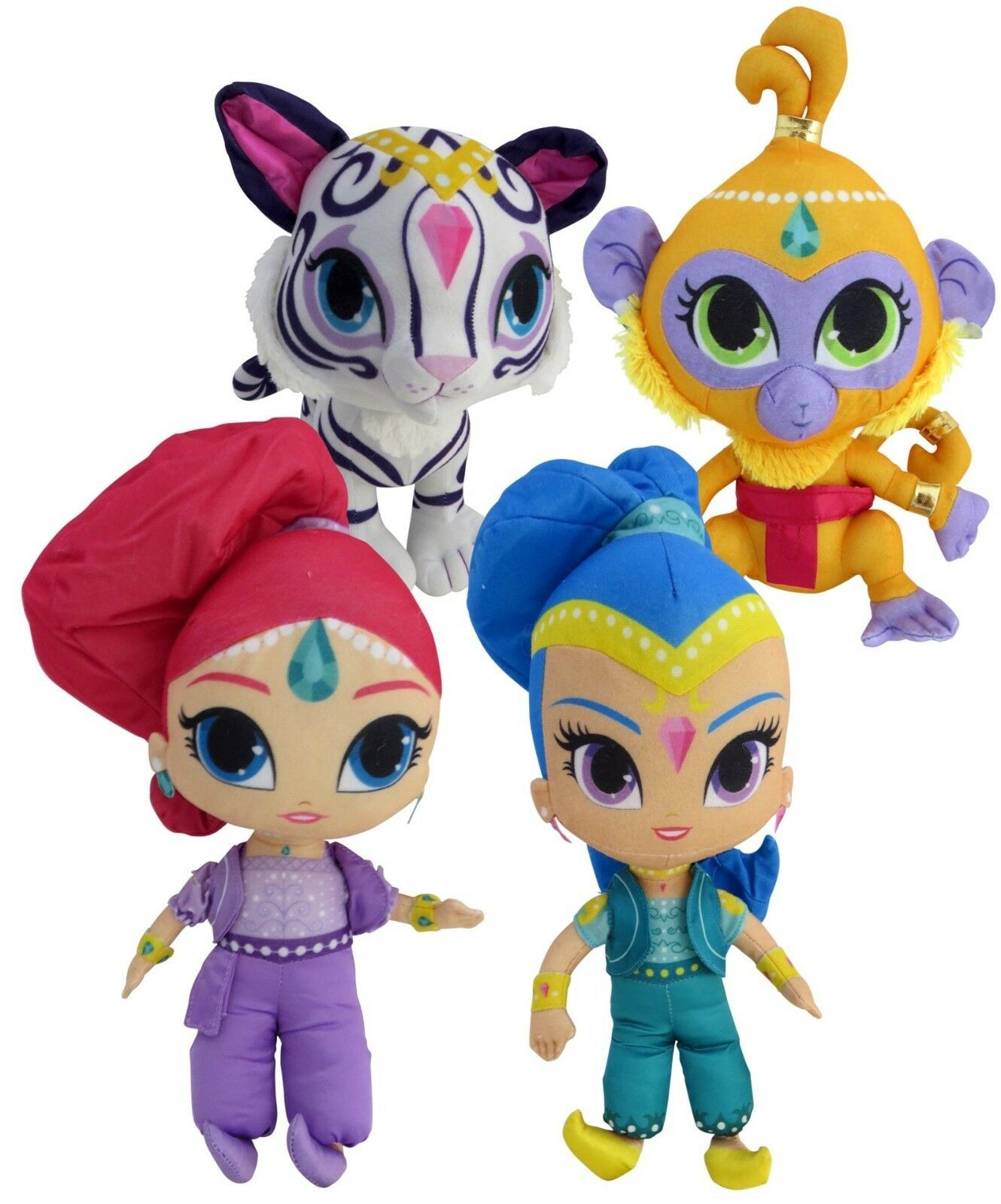 Nickelodeon Shimmer and Shine Set of 4 Plush Soft Stuffed Doll 30 cm tall