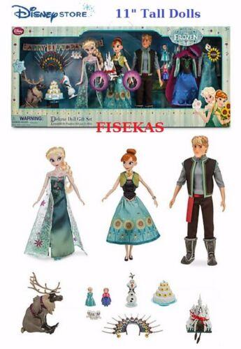 """Disney Store Deluxe 15pc Doll Gift Set Anna Elsa Dolls 11/"""" Frozen Fever NEW 2015"""