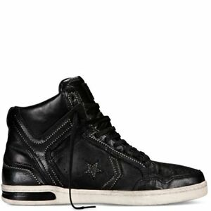 official photos 16ae6 b8ab2 Image is loading Converse-John-Varvatos-JV-Weapon-Mid-Black-Leather-