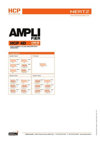 HERTZ HCP 4D Amplificatore 4//3//2 Canali 1160W in Classe D con Crossover NUOVO