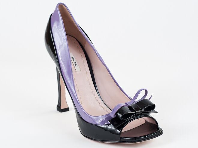 New  Miu Miu by Prada Peep Toe Black&Purple Patent Lether shoes Size 40 US 10