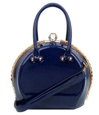 Ladies Vintage Glossy Hard Case Clutch Bag Patent Design Evening Party Wedding