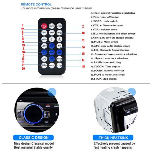 LCD Bluetooth Car Radio Stereo Head Unit Player In-dash MP3 //USB//SD//FM//Iphone UK