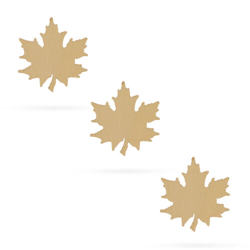 3 Leaves Unfinished Wooden Shapes Craft Cutouts DIY Unpainted 3D Plaques 4