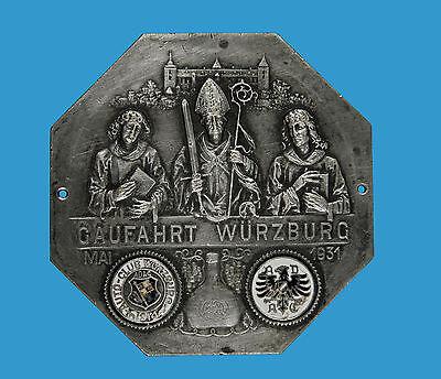 DemüTigen Plakette Gaufahrt Würzburg Mai 1931 Email-medaillons Von Auto-club Würzburg+adac