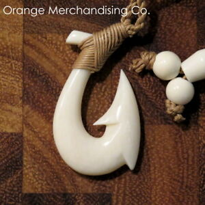 Hawaiian Fish Hook Buffalo Bone Necklace Maori Hei Matau Small Pendant Small A1