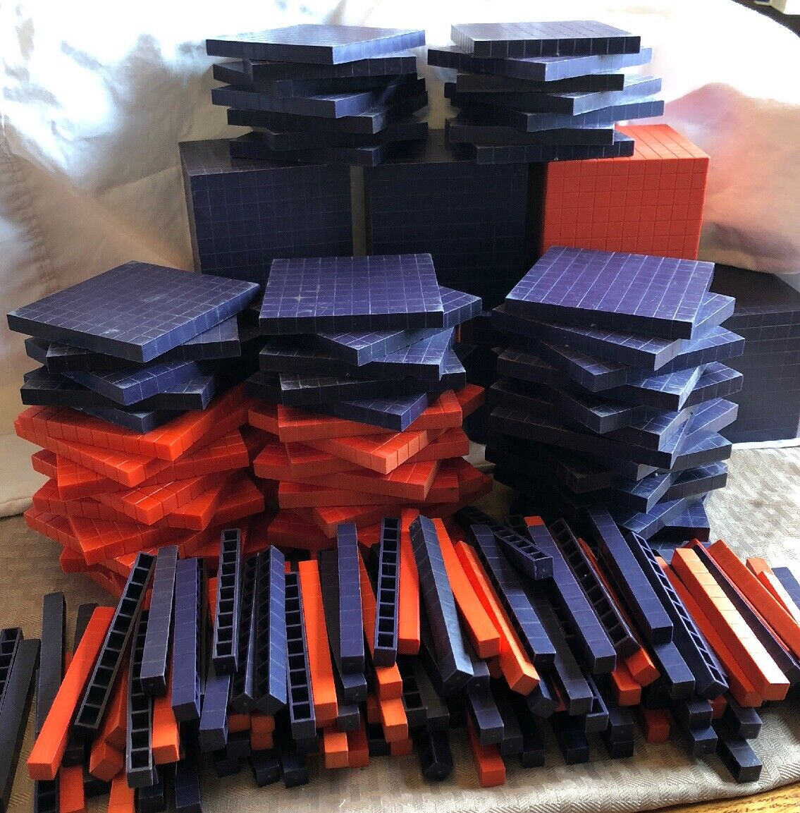 193 PC base de matemáticas diez bloques Púrpura Naranja Plástico miles cientos decenas Lote