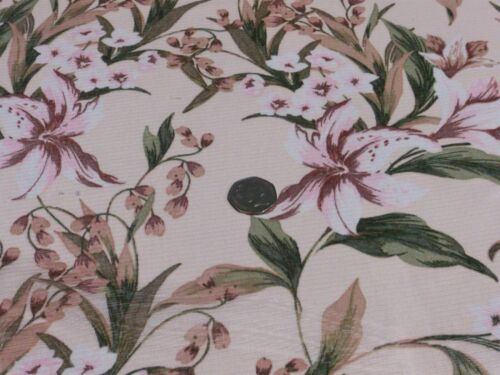 FLORAL-PINK//GREEN DRESS FABRIC-FREE P/&P PRINTED SOFT STRETCH  MESH UK ONLY