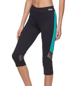 FILA-SPORT-Women-039-s-Zion-Capri-Black-Island-Running-Tights-Size-S
