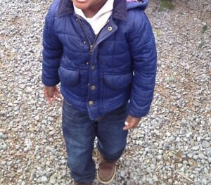 Boys Mini Boden Navy Blue Quilted Jacket With Removable Hood Size 2