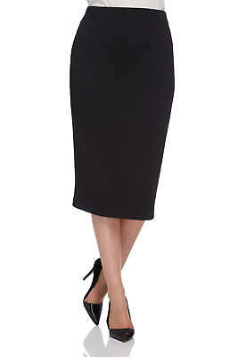 New Womens Ex Branded Black Textured Floral Print Bodycon Pencil Skirt Size 6-8