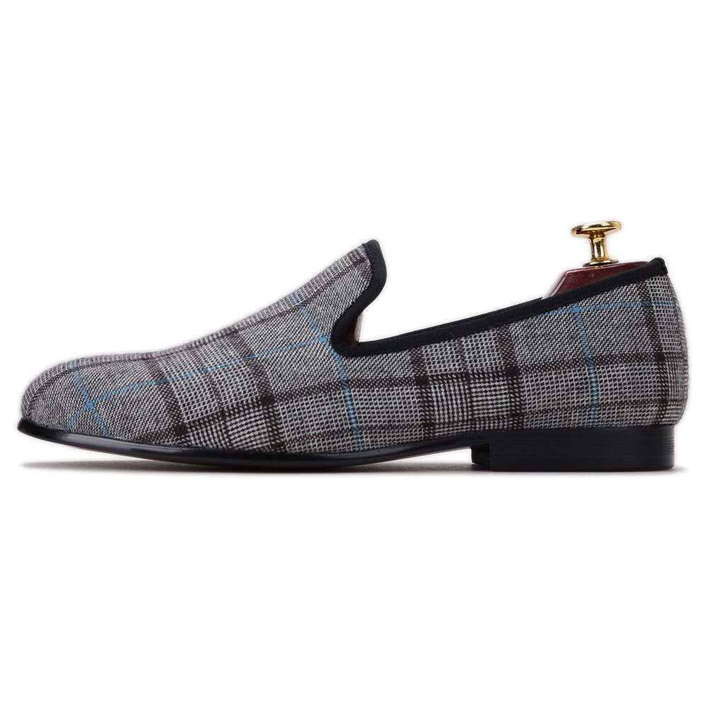 prezzo all'ingrosso e qualità affidabile Merlutti Plaid Grigio Tessuto Fumare Pantofole Pantofole Pantofole Uomo Basse  al prezzo più basso
