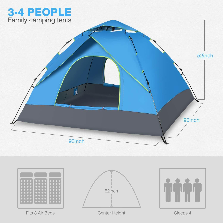 Campamento 4 tiendas de campaña con dos capas impermeables.