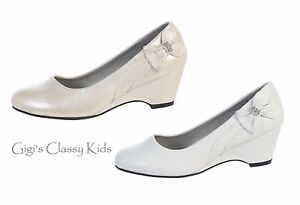 Details About New Girls Kids Youth Dress Shoes Ivory White Wedges Wedding Flower Girl Wedding