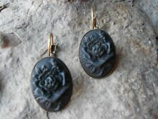 BLACK ROSE CAMEO LEVER BACK FRENCH EARRINGS!! QUALITY!!!