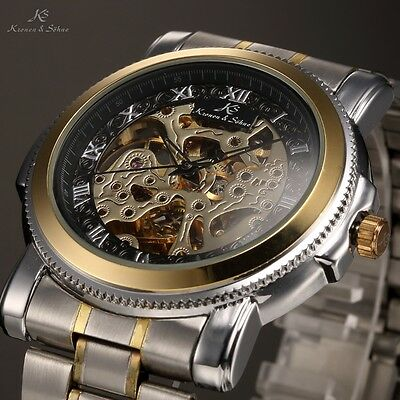 Men's Fashion Black Skeleton Gold Case Automatic Mechanical Sport Wrist Watch